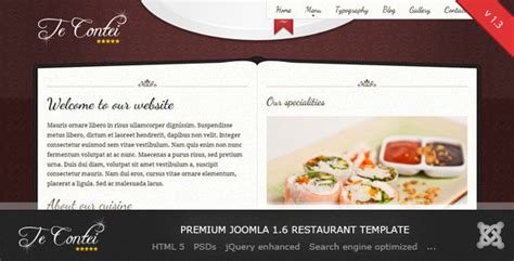 joomla restaurant template te contei joomla 1 6 restaurant template by demente