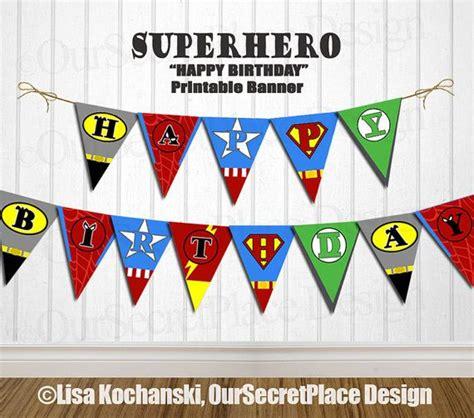 Printable Happy Birthday Superhero Banner | 5 best images of free superhero printable birthday banner