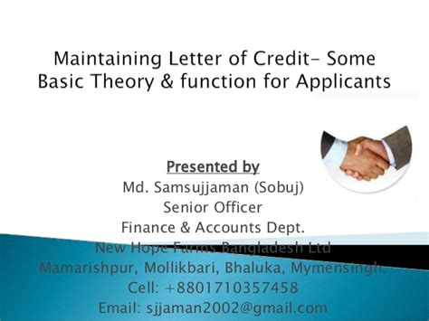 Letter Of Credit Bangladesh Bank Maintaining Letter Of Credit Some Basic Theory