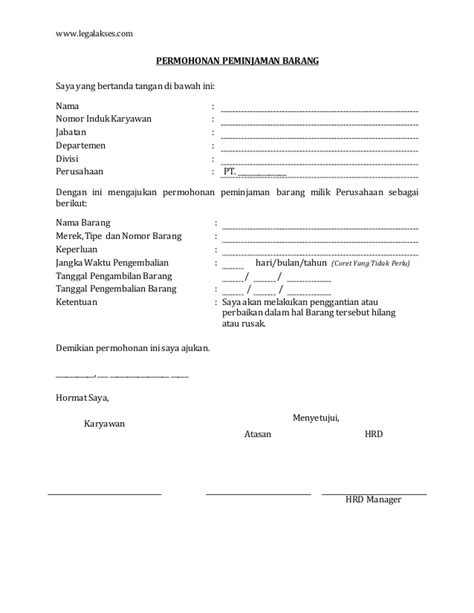 Contoh Surat Pengajuan Barang by Surat Permohonan Peminjaman Barang Kepada Perusahaan