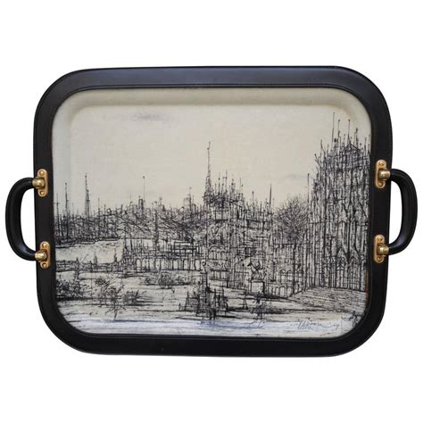 Special Edition Travel Dining Tray limited edition 1960s tray with jean carzou image and adnet styling at 1stdibs