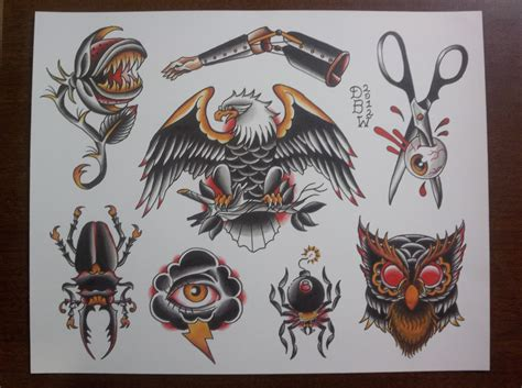american classic tattoos oddities traditional flash sheet traditional