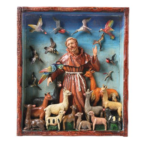 Handcrafted By St - st francis animals retablo frame sculpture wall