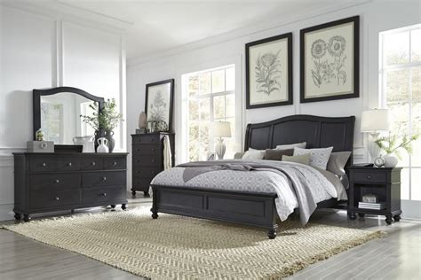 bedroom furniture oxford aspenhome oxford 4pc sleigh bedroom set in black