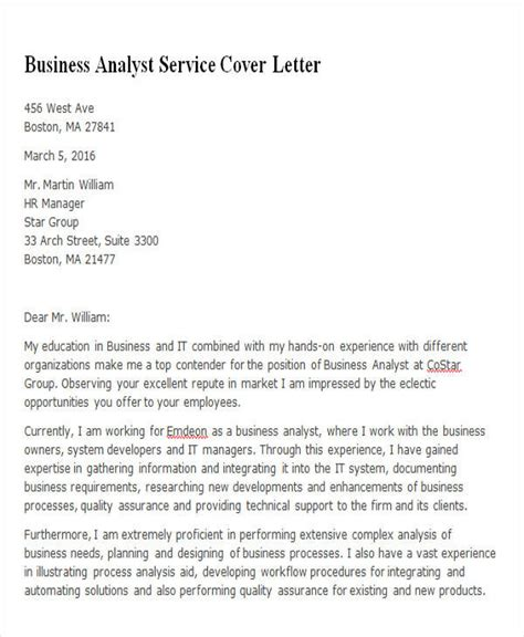 Business Process Analyst Cover Letter by 38 Service Letter Formats