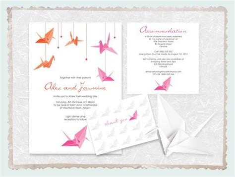 Origami Crane Wedding Invitations - origami paper crane wedding invitation suite printable