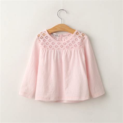 Hollow Top White Pink 2016 lace tshirt cotton hollow baby blouse toddler sleeve top white pink