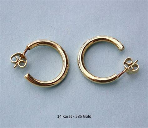 yellow gold hoop earrings 585 14 kt catawiki