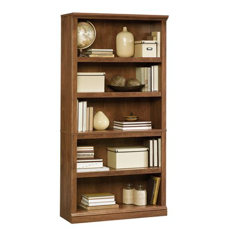 Shop Sauder Oiled Oak 35 25 In W X 69 75 In H X 13 25 In D Sauder 5 Shelf Bookcase Assembly