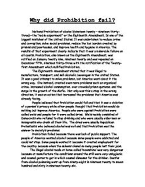 Prohibition History Essay by Prohibition Essay Sle Essay On The Prohibition Of Liquor In Ayucar
