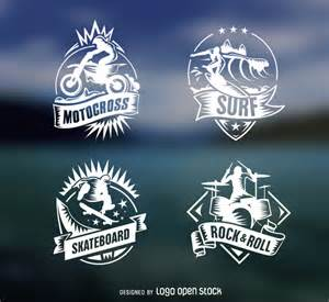 4 extreme sports vintage inisgnias free vector logo template