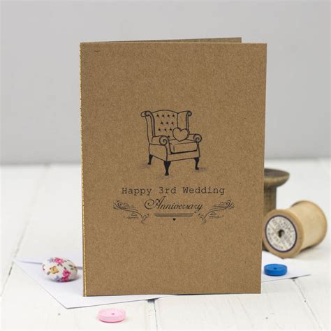 3rd Wedding Anniversary Card Leather by Third Wedding Anniversary Card Leather By Miss Shelly