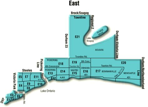 Map Of Toronto   GTA Toronto East Real Estate District Maps