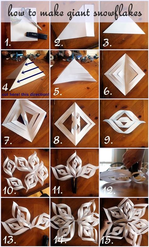 How To Make Large 3d Paper Snowflakes - how to make paper snowflakes step by step photo