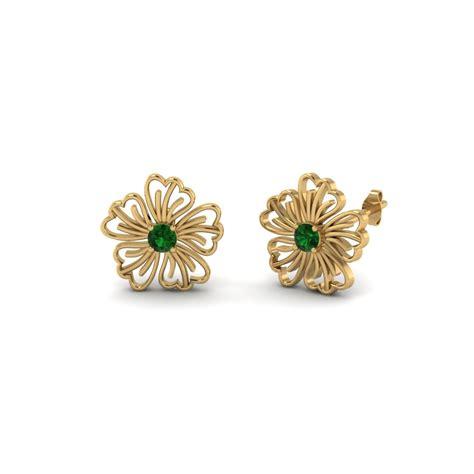 flower design earrings hibiscus round flower diamond stud earring in 14k rose