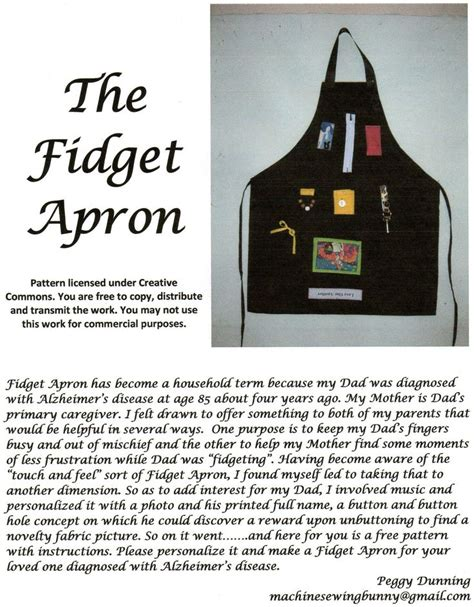pattern for activity apron fidget apron gifts for the elderly or homebound
