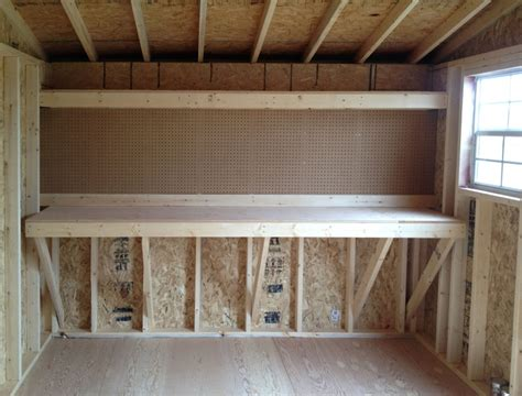 shed work bench how to build shed workbench menards garden sheds making