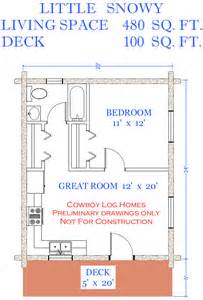 480 Square Feet by Little Snowy Plan 480 Sq Ft Cowboy Log Homes
