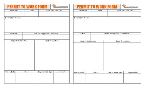 work permit template permit to work form template teacheng us