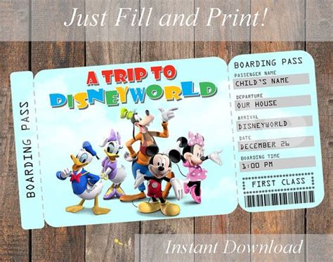 printable invitation to disney world printable ticket to disney disneyworld disneyland