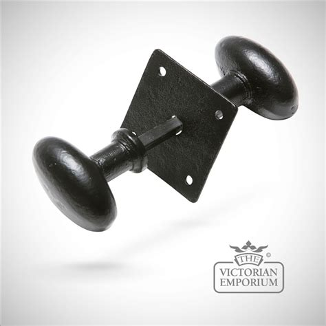 Black Iron Door Knobs by Black Iron Handcrafted Oval Door Knob On Square Plate