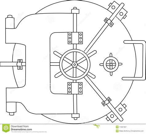 bank vault black white stock vector image of security 11067307
