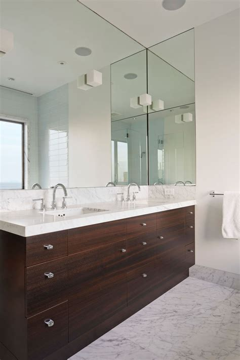 bathroom mirror ideas on wall bathroom mirror ideas fill the whole wall contemporist