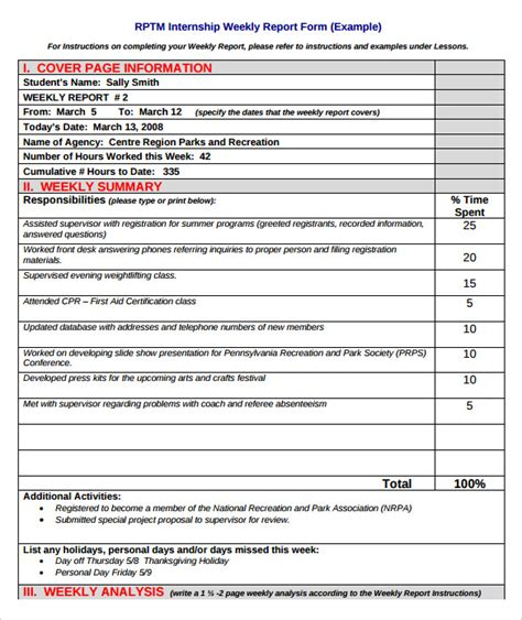 weekly activity report template 8 free pdf word documents