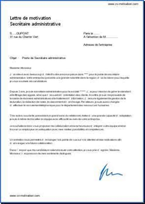 Exemple De Lettre De Motivation Pour Secrétaire Administrative Lettre De Motivation Secr 233 Taire Administrative