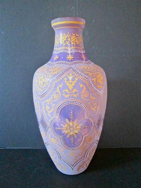 moser antique large purple color glass vase enamel and
