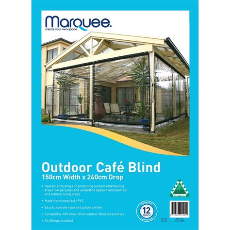 marquee 150 x 240cm clear pvc outdoor cafe blind