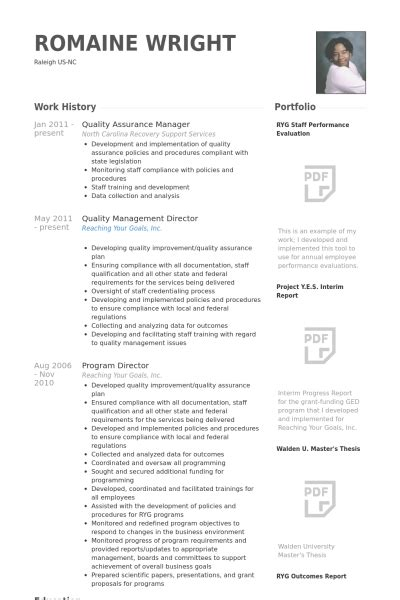 cv format for quality manager quality assurance manager resume sles visualcv resume
