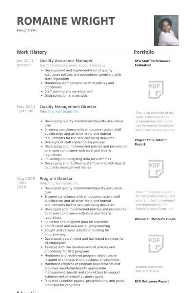 Gestionnaire De L'assurance De La Qualité Exemple de CV