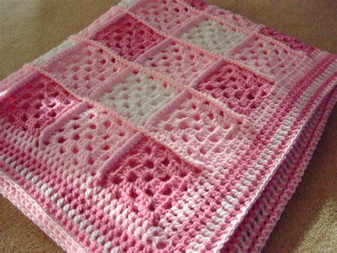 Handmade Crochet Baby Blanket - handmade baby blanket in pinks and white knitting and
