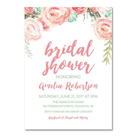 editable pdf bridal shower invitation diy pink mint