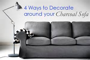 Ikea Slipcover Couch 4 Ways To Decorate Around Your Charcoal Sofa Maria