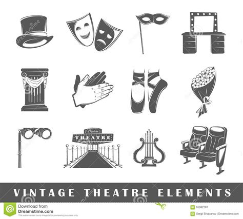 design elements in theatre vintage theatre elements stock vector illustration of