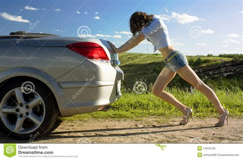 Is Pushing by Is Pushing Broken Car Royalty Free Stock Photo