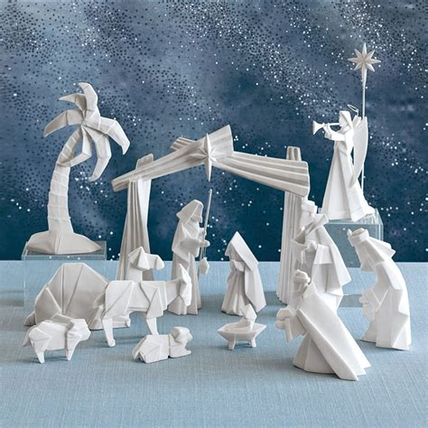 Origami Manger - beautiful origami nativity set with creche nova68