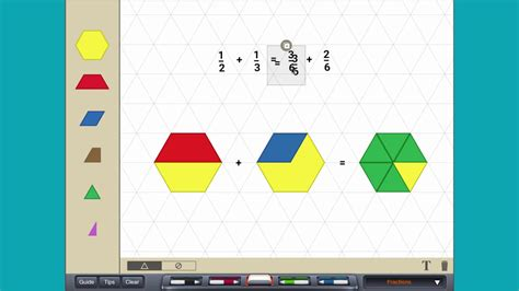 youtube pattern blocks adding fractions unlike denominators with pattern