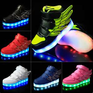 led light up sneakers led child boys light up usb charge angle wing