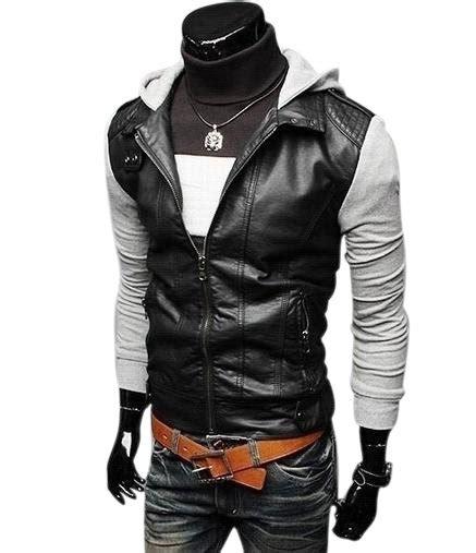 pu knitting jackets pu knitting sleeve hooded slim style