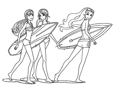 coloring pages surfer girl barbie surfer free colouring pages