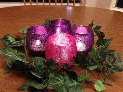 advent candle holders glass votives with pink and purple