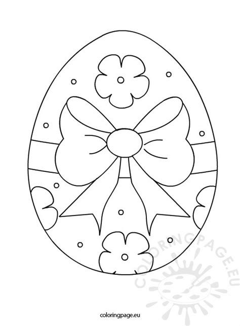 easter egg tied   bow coloring page