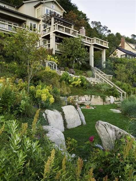 hillside landscape home garden and outdoor spaces pinterest