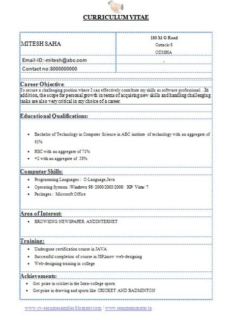 Resume Format For Btech Computer Science Students a beautiful and professional resume sle template