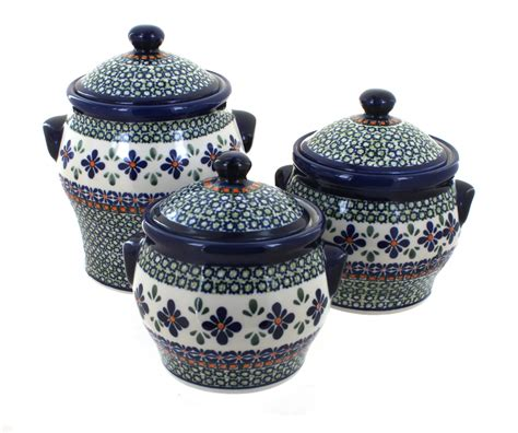 Large Mosaic Canister blue pottery mosaic flower canister set