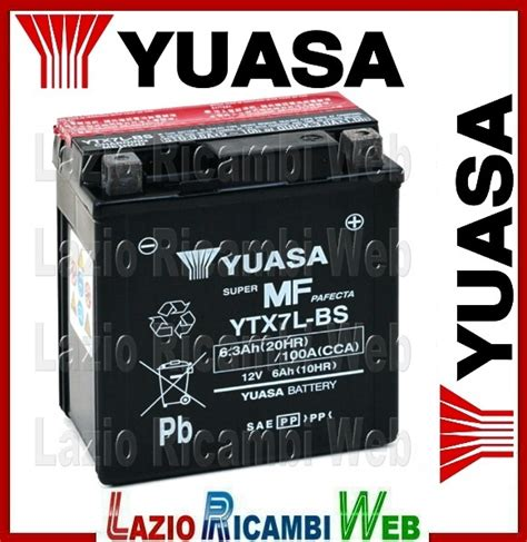 Aki Vespa Piaggio Lx 150 Yuasa Ytx7l 12v 6ah 1 batteria yuasa ytx7l bs lazio ricambi web