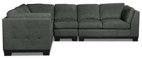 grey microsuede sectional oakdale 4 piece microsuede sectional grey the brick